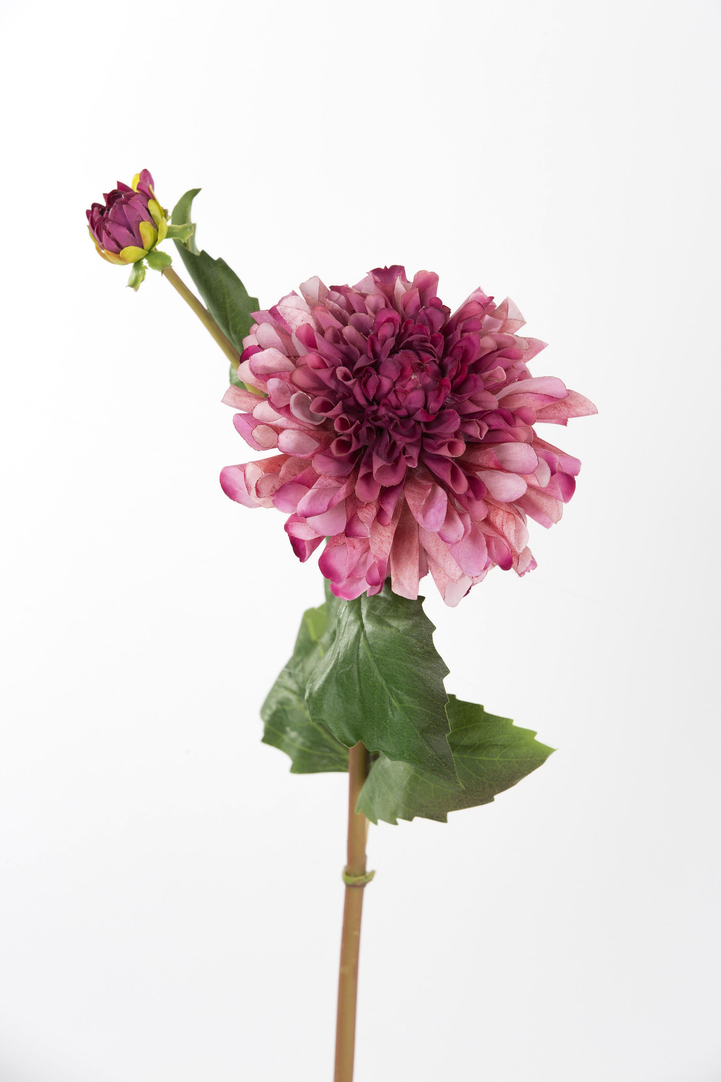 Faux Dahlia Flower Stem Burgundy - Shop