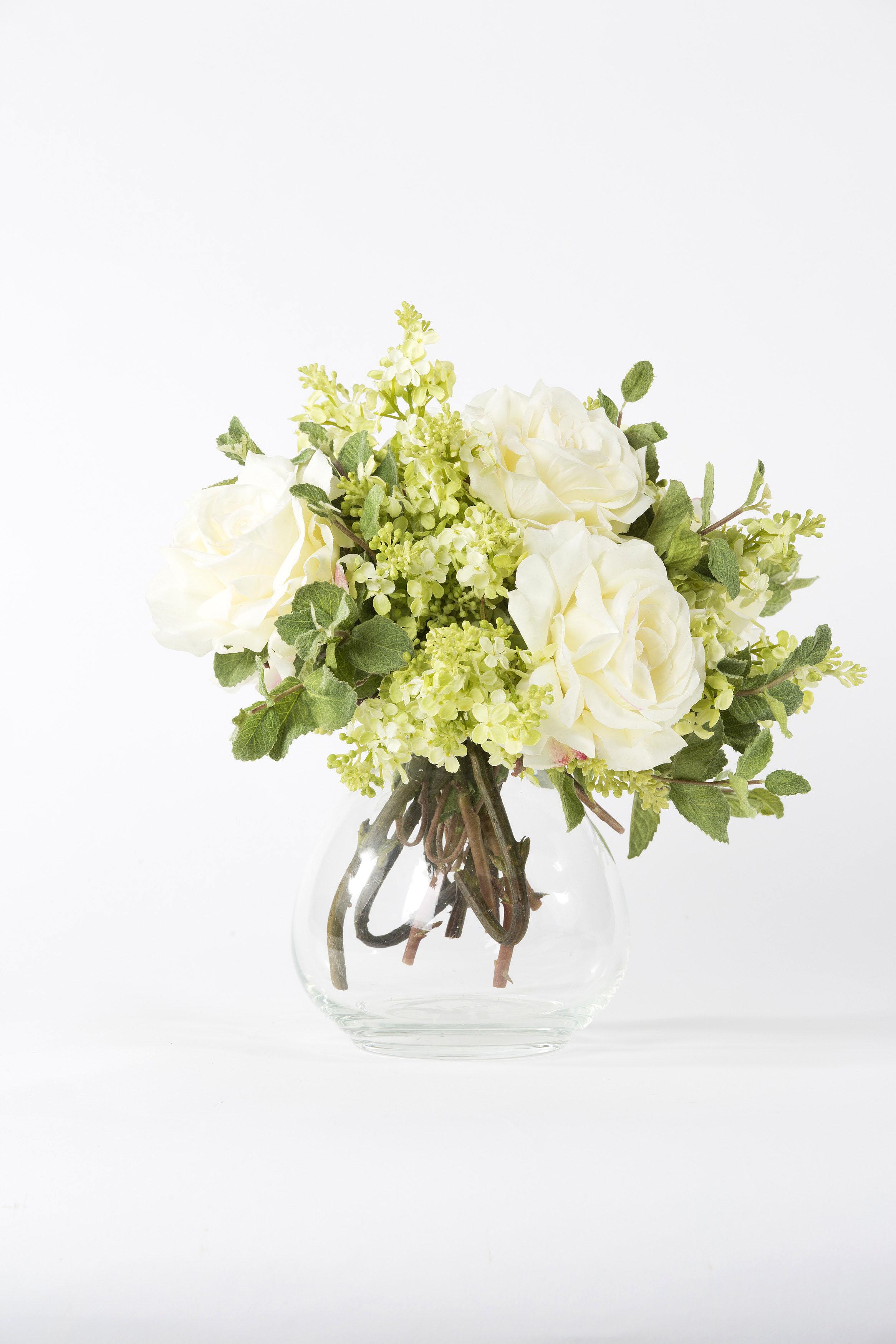 Cream Roses Lilac Mint Artificial Flower Arrangement Glass Vase Shop Lifelike Flowers
