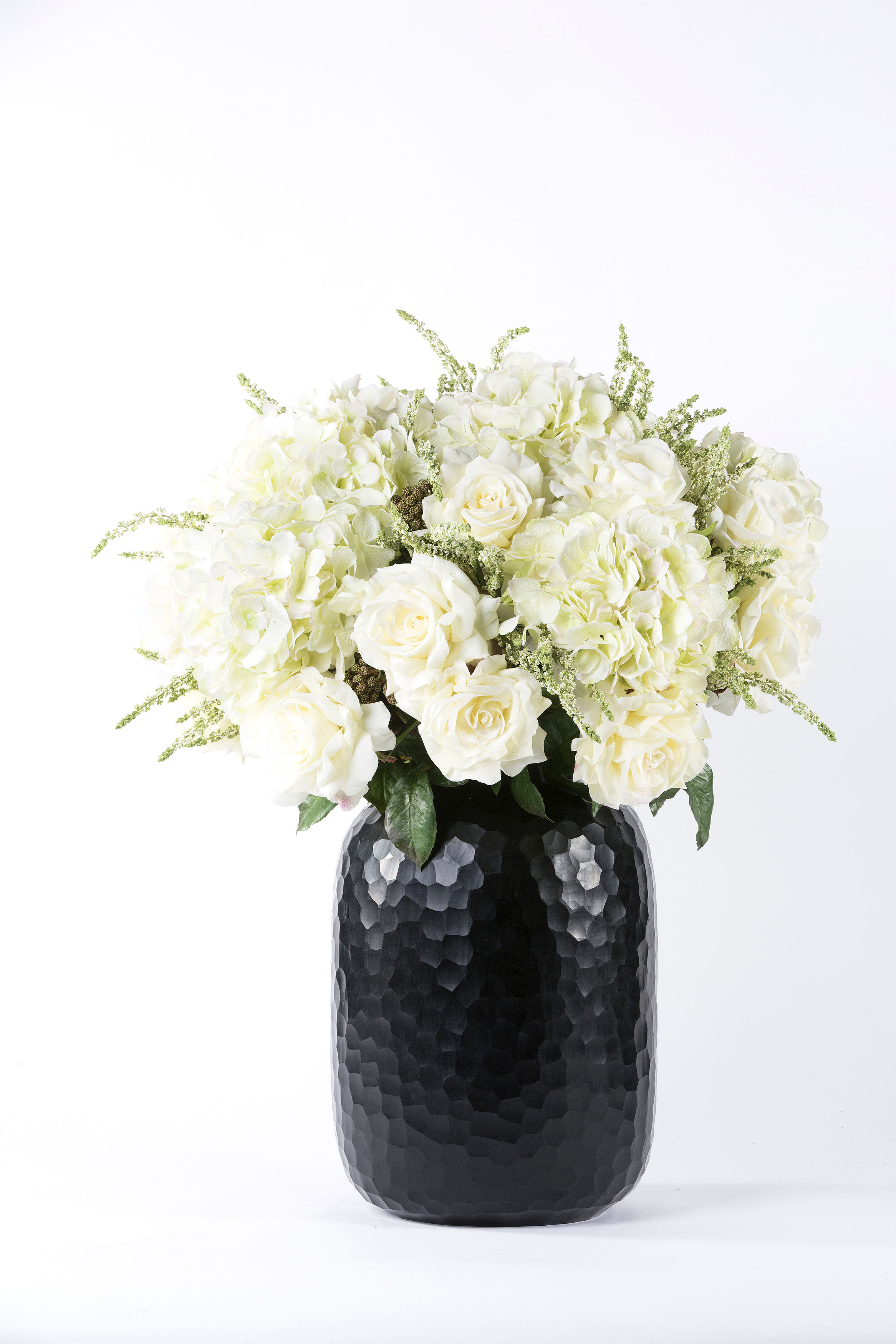 White Hydrangeas Rose And Heather Silk Flower Arrangement Black