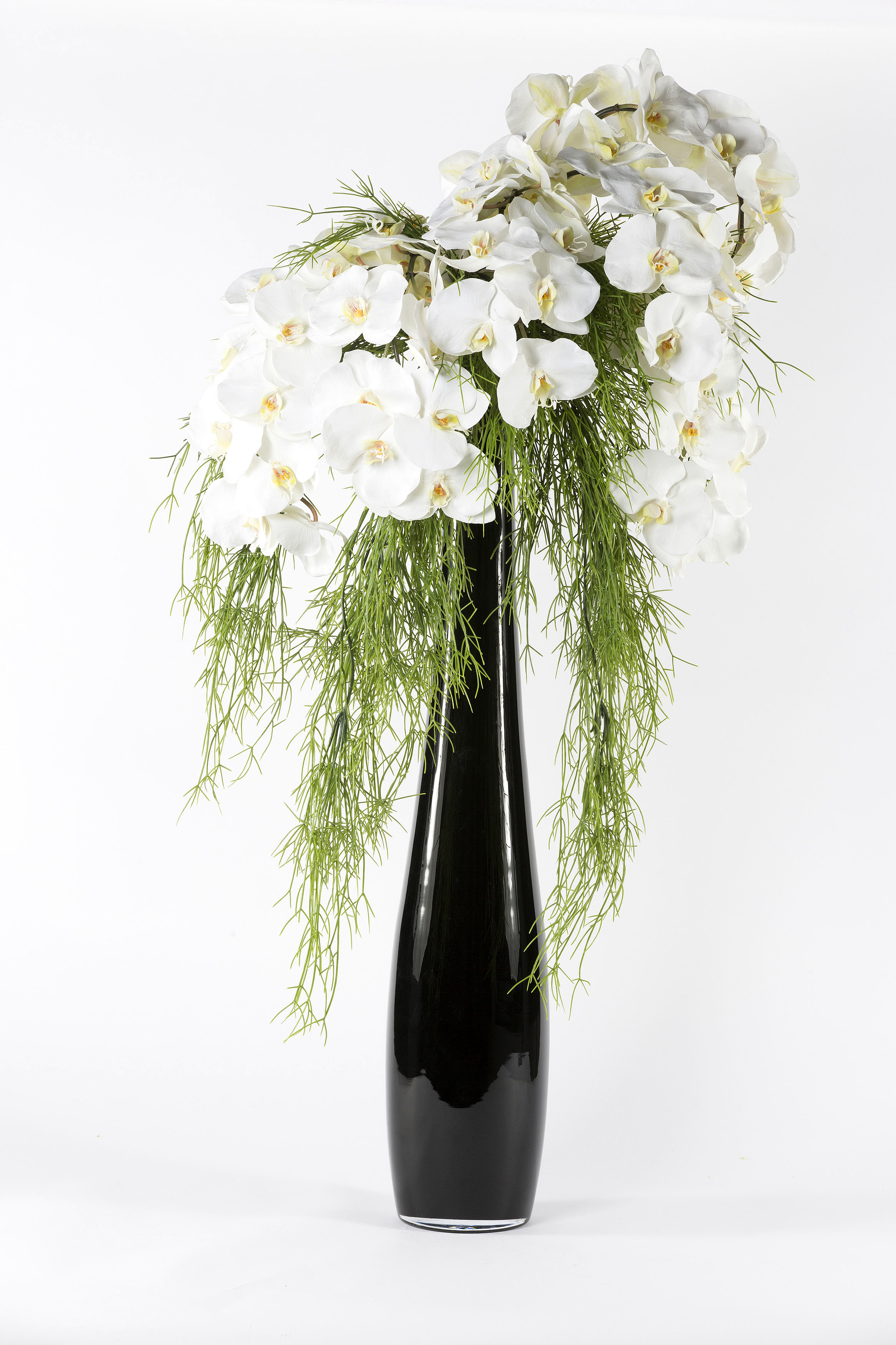 Moth Orchid Silk Flower Arrangement Black Glass Vase Shop Lifelike Flowers