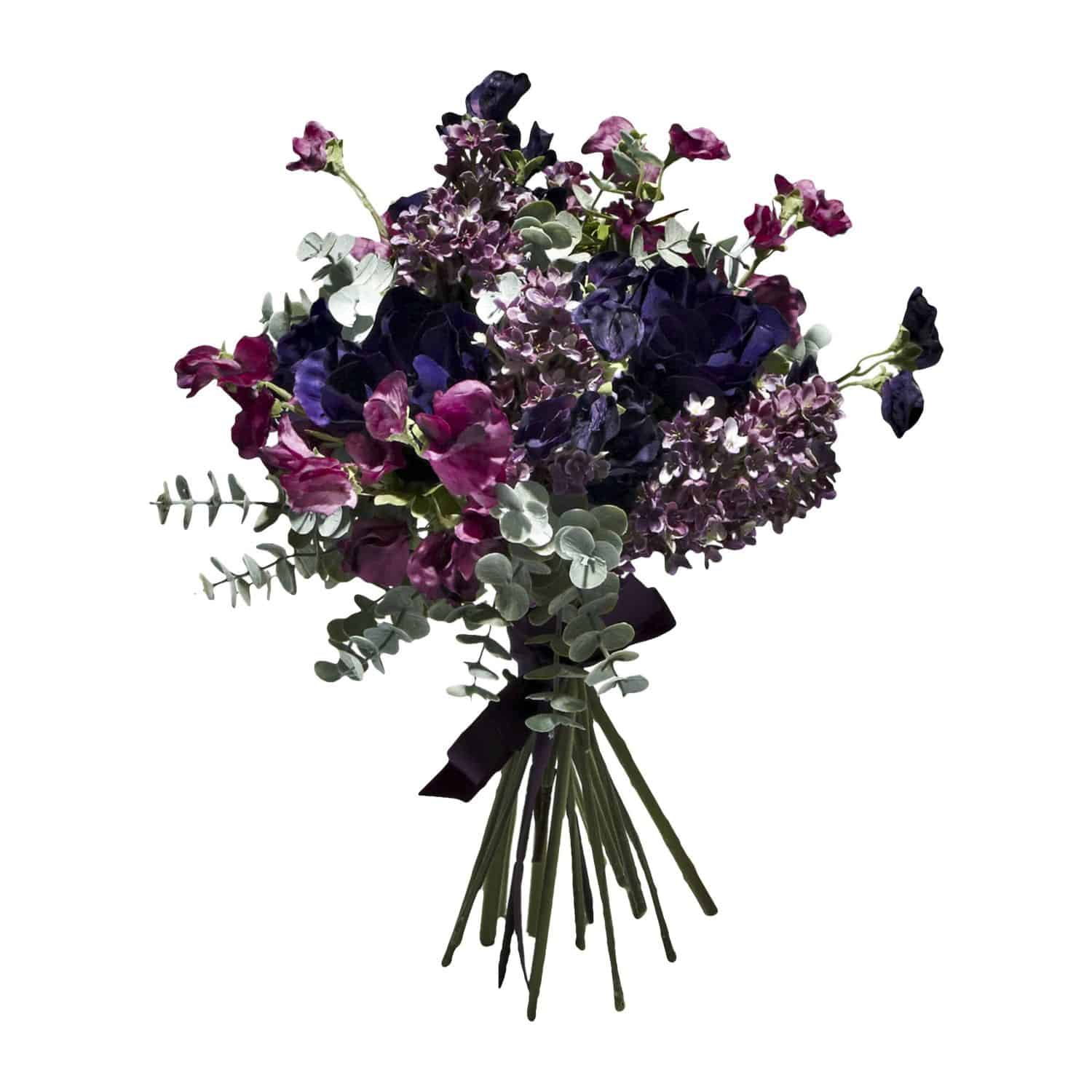 Buy & enjoy our beautiful handtied spring silk flower bouquet of artificial sweet pea in lilac lavender & purple with anemone artificial flower & eucalyptus.