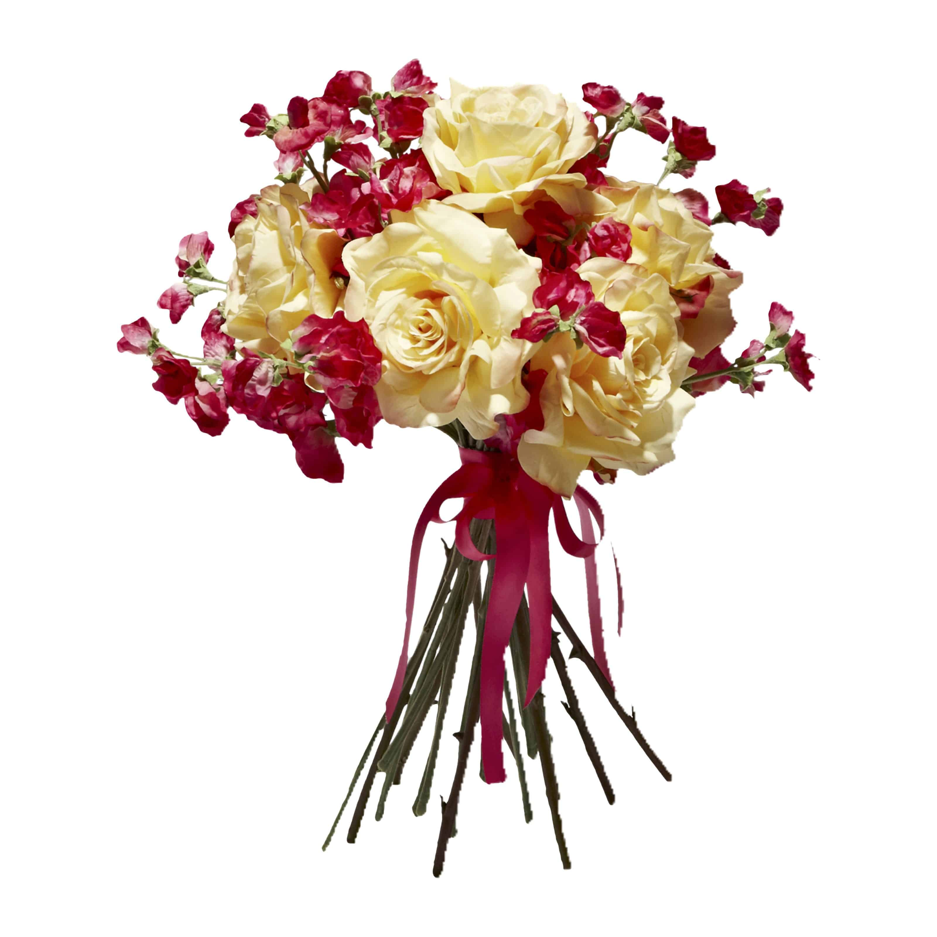 Adore our lovely summer floral bouquet with faux pink fuchsia sweet pea flowers & perfect imitation English garden yellow silk rose flowers for a warm aura.