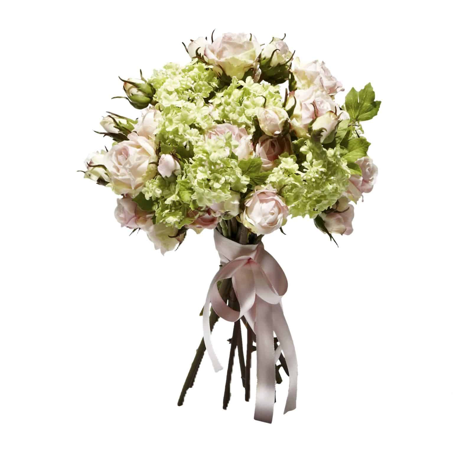 Shop & enjoy the pleasure of this refreshing silk flower bouquet. Handtied blooming silk flower stems of fine pink roses and green guelder faux flowers.