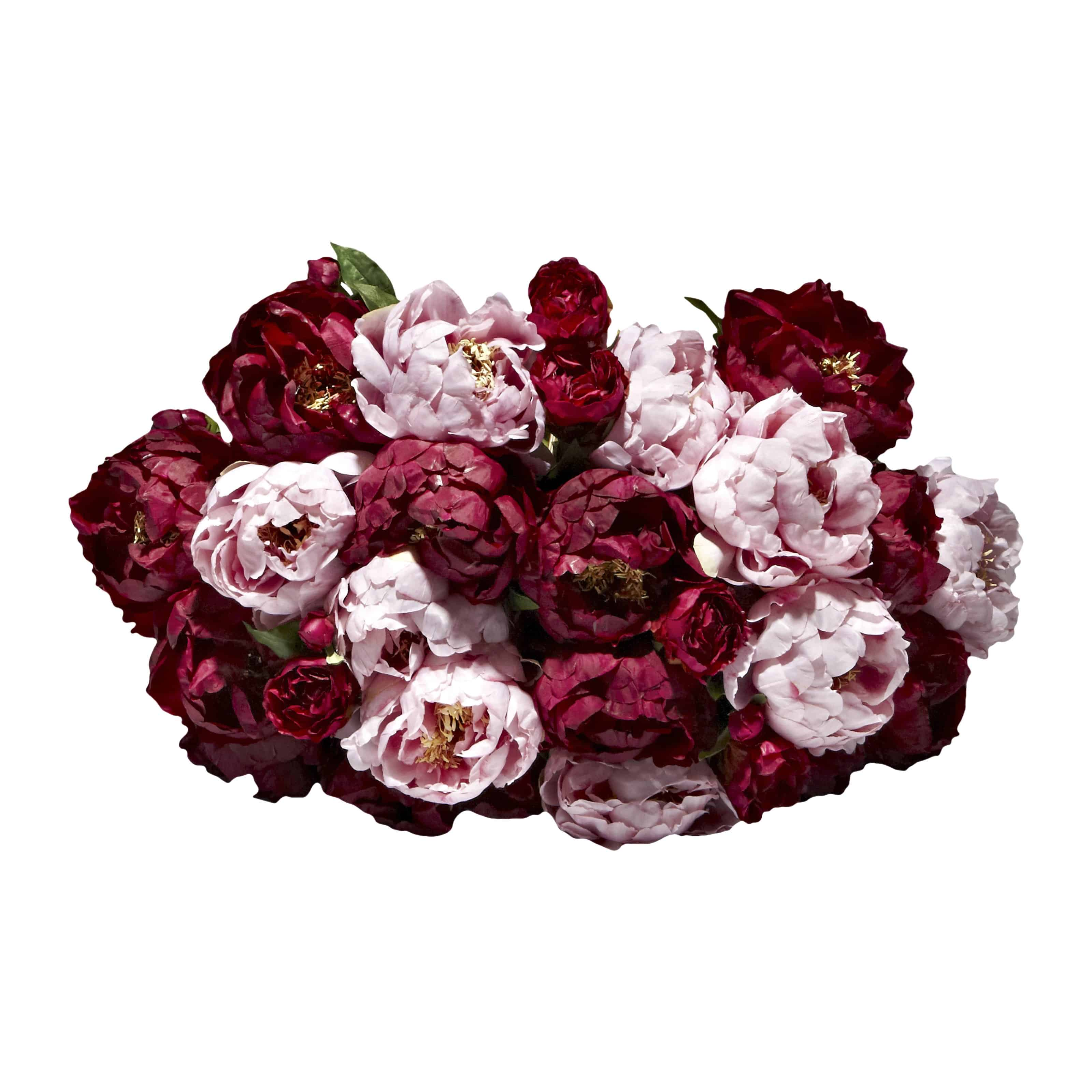 Love our luxurious artificial flower bouquet full of finely detailed large heads on long stem lavender pink and rich silk flower burgundy peonies and buds.