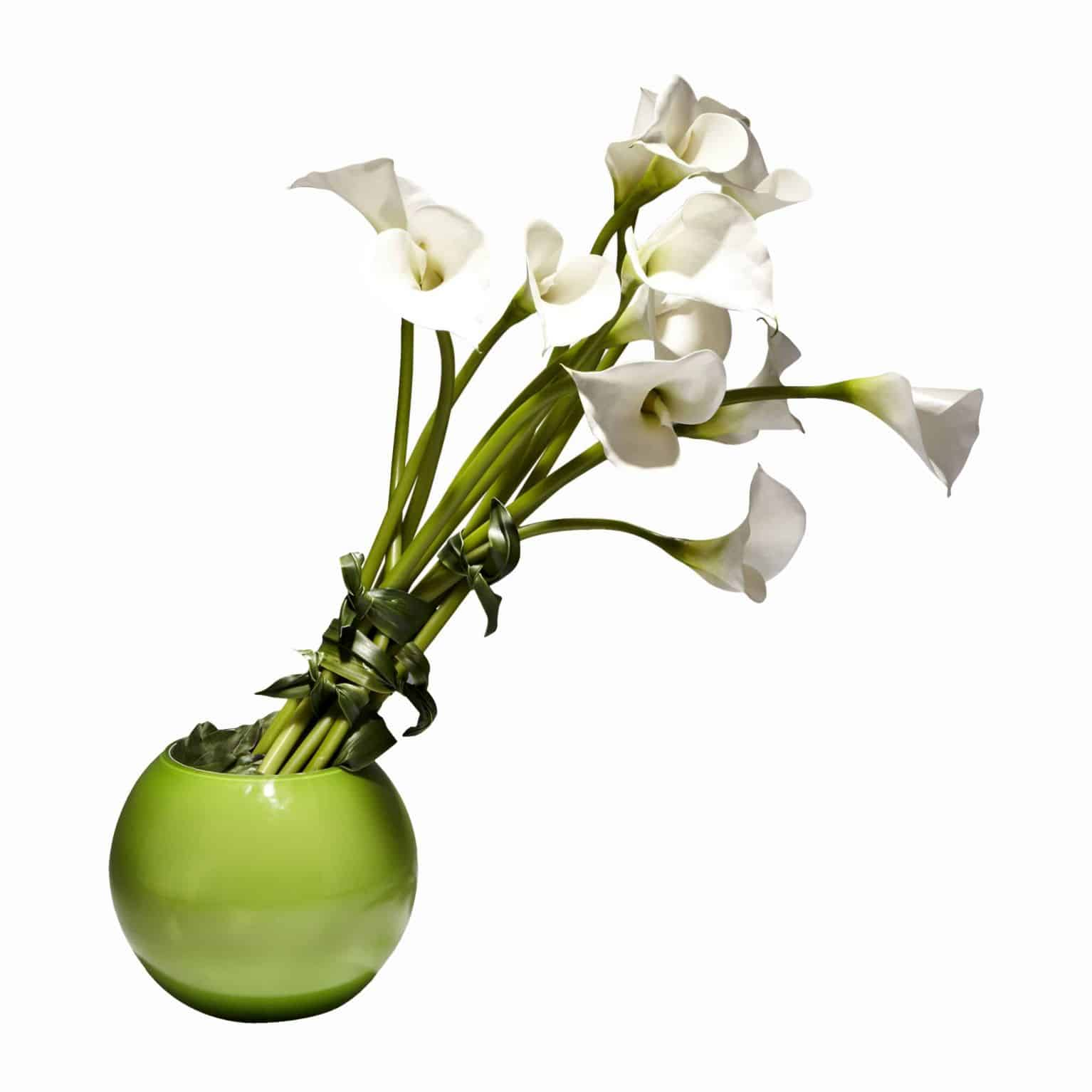 White calla lily artificial flower arrangement green bowl vase s buy our modern arrangement of fine silk lily flowers in a vibrant green bowl vase izmirmasajfo
