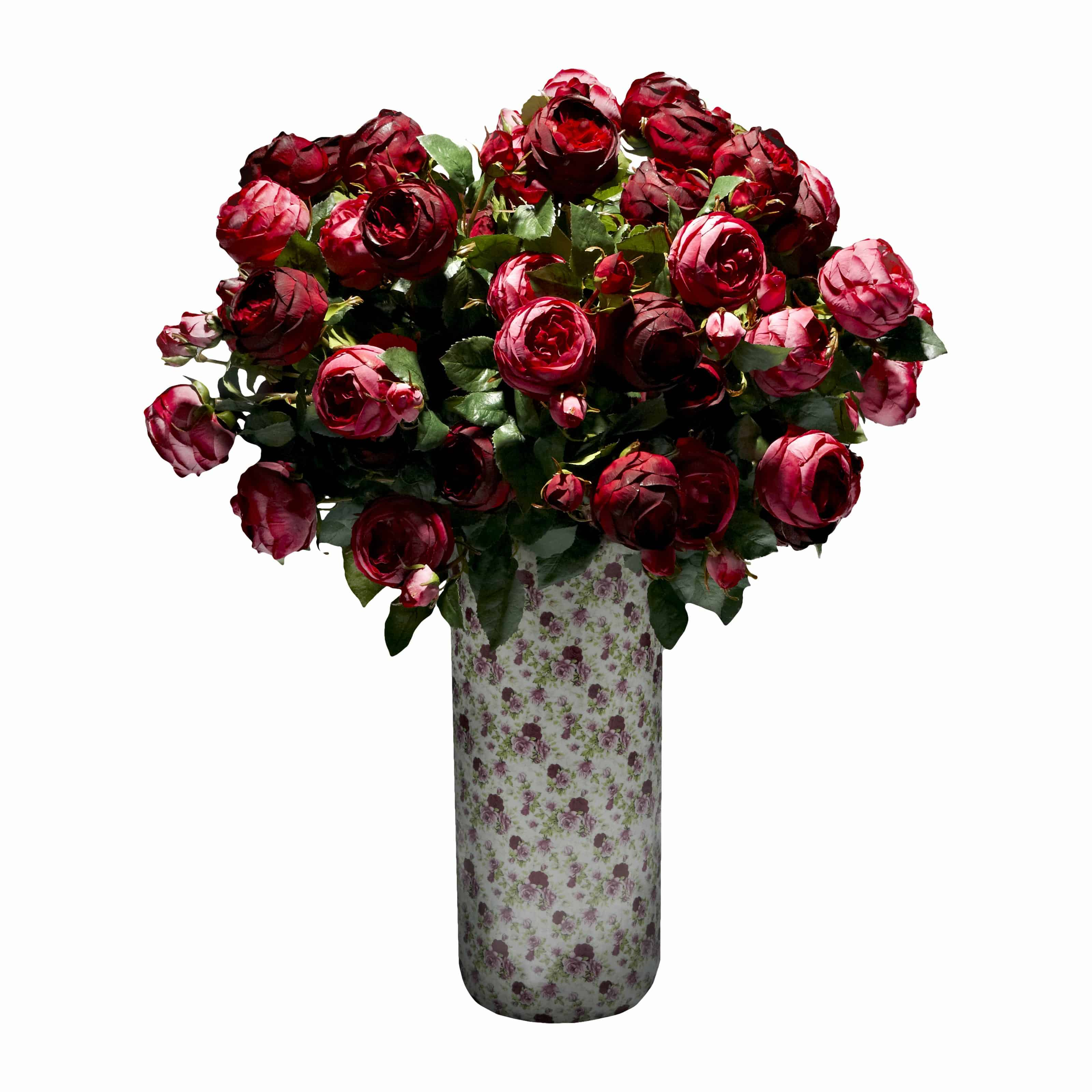 Buy now and take the one you loves breath away with our lavish wine and ruby port silk rose artificial flower arrangement in a rose printed vase.