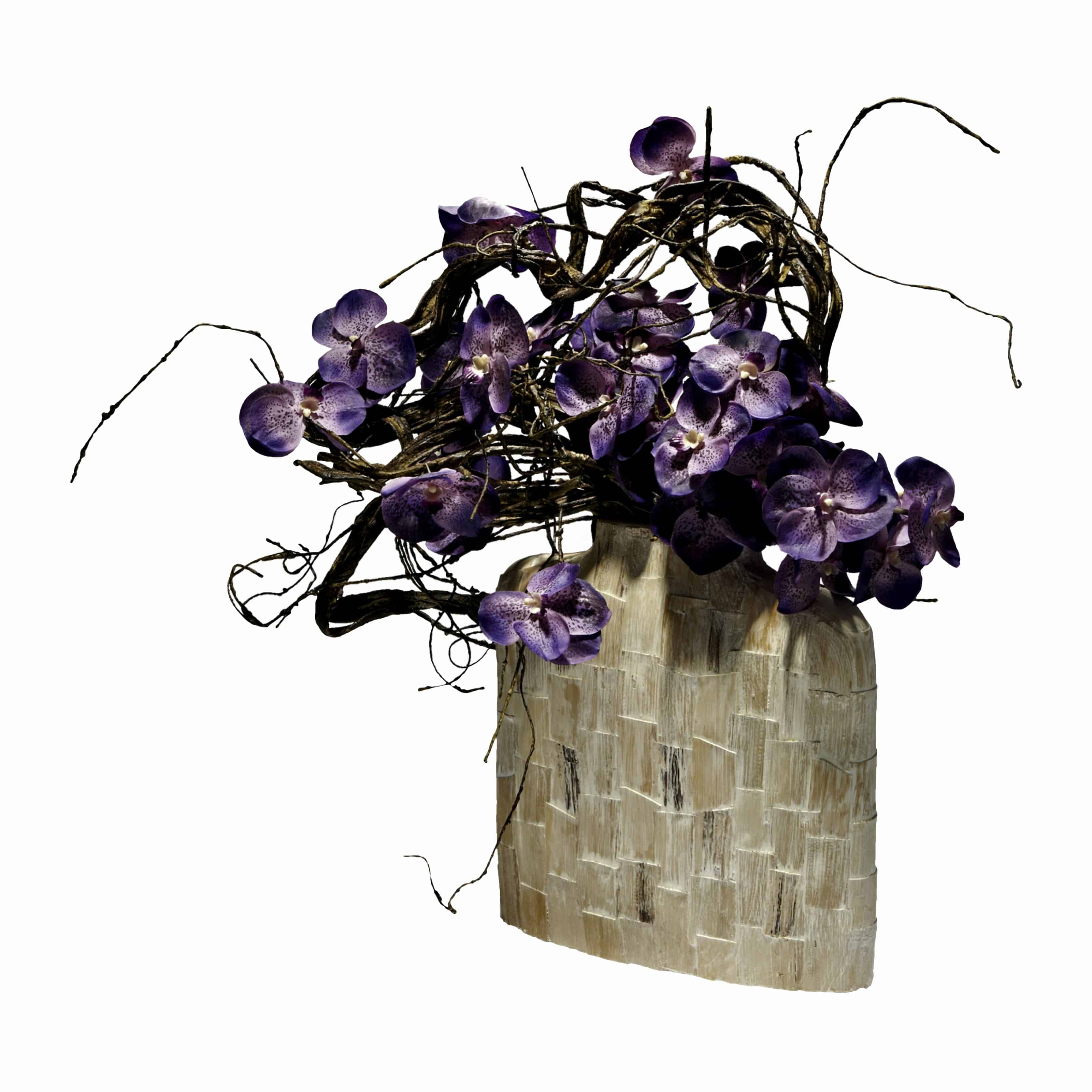 Buy and bring the woodland home with our distinctively wild woodland vanda silk orchid arrangement. With flax branches & blooming artificial flowers.