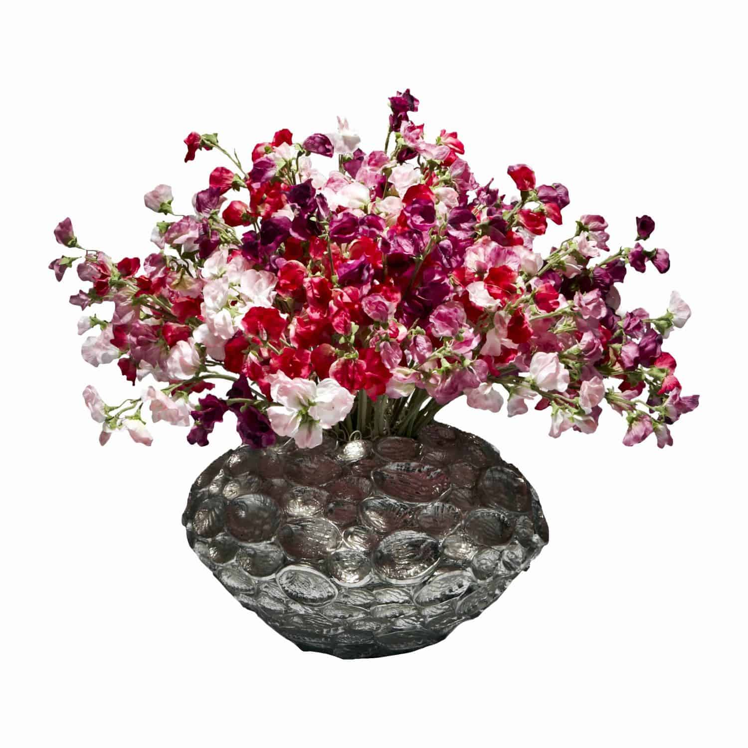 Buy our vibrant array of premium galaxy sweet pea silk flowers arranged to create a striking feature. Purple