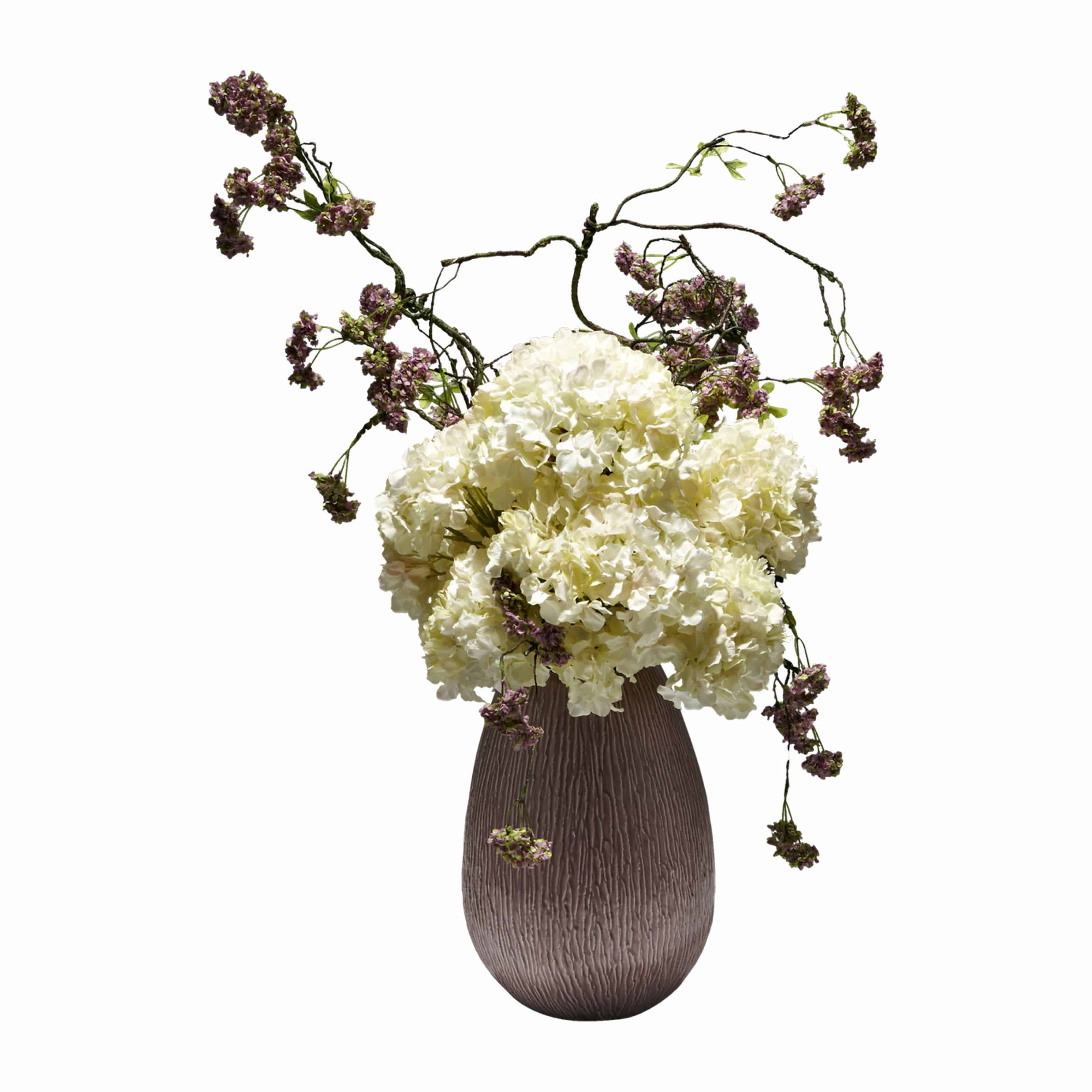 Shop for our premium quality cream silk hydrangea flowers arranged in a dome broken up with artificial purple snowball garland in a deep pink ceramic pot.