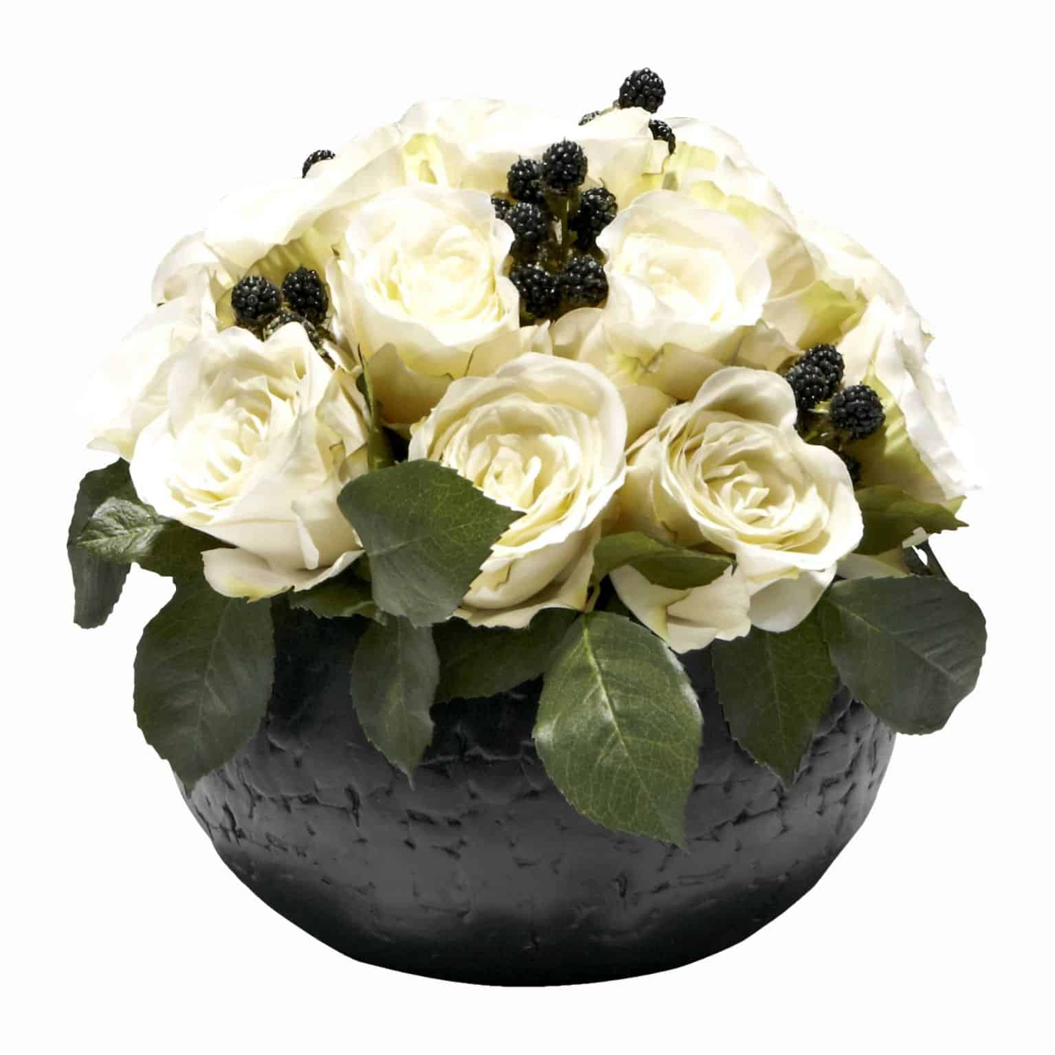 Shop for simple and chic artificial blackberries and elegant cream silk flower roses delicately arranged in a round etched back pot.