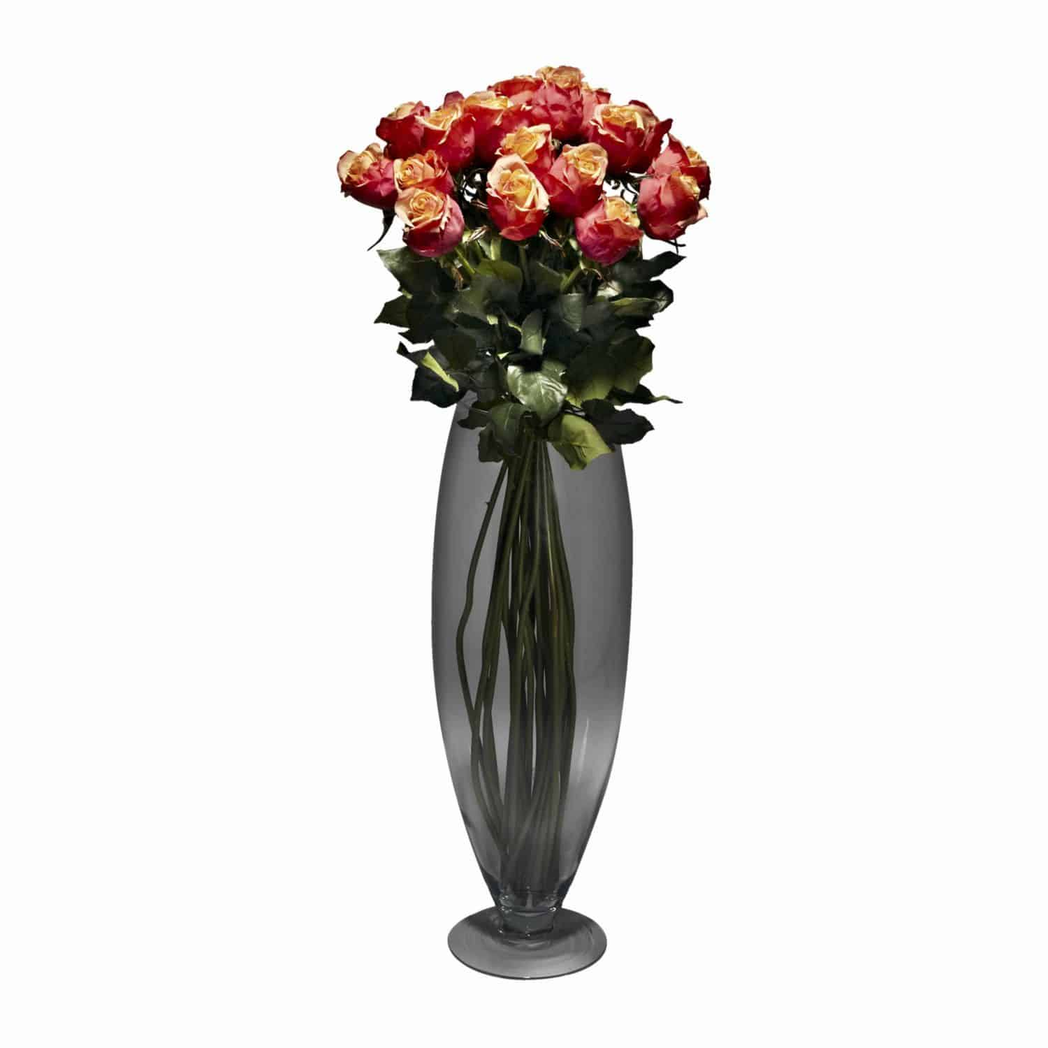 Shop for our simply captivating arrangement of 24 long stem artificial silk cherry brandy rose flowers. A modern design perfect for any contemporary space.