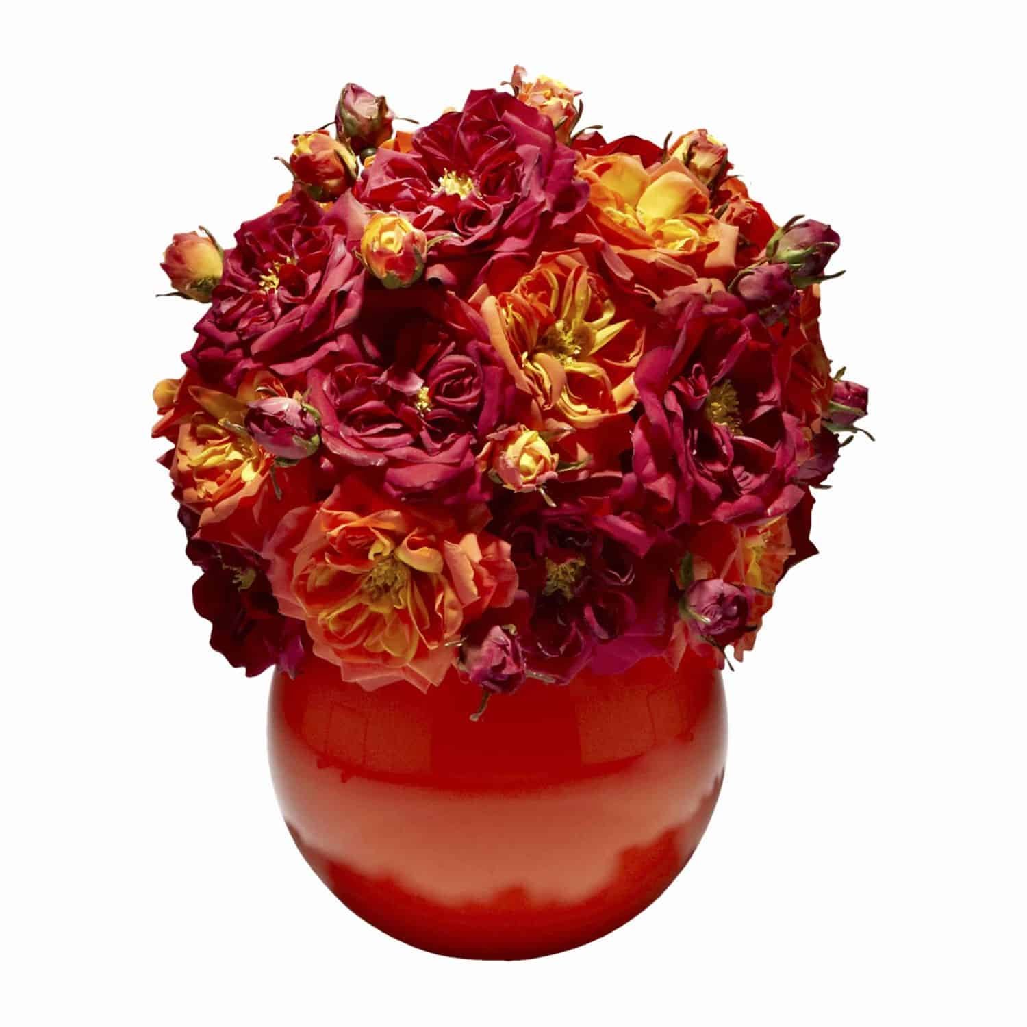 Buy our bright and stunningly beautiful flower arrangement. Supreme artificial silk roses Emperor Du Maroc in sunny orange and radiant red.