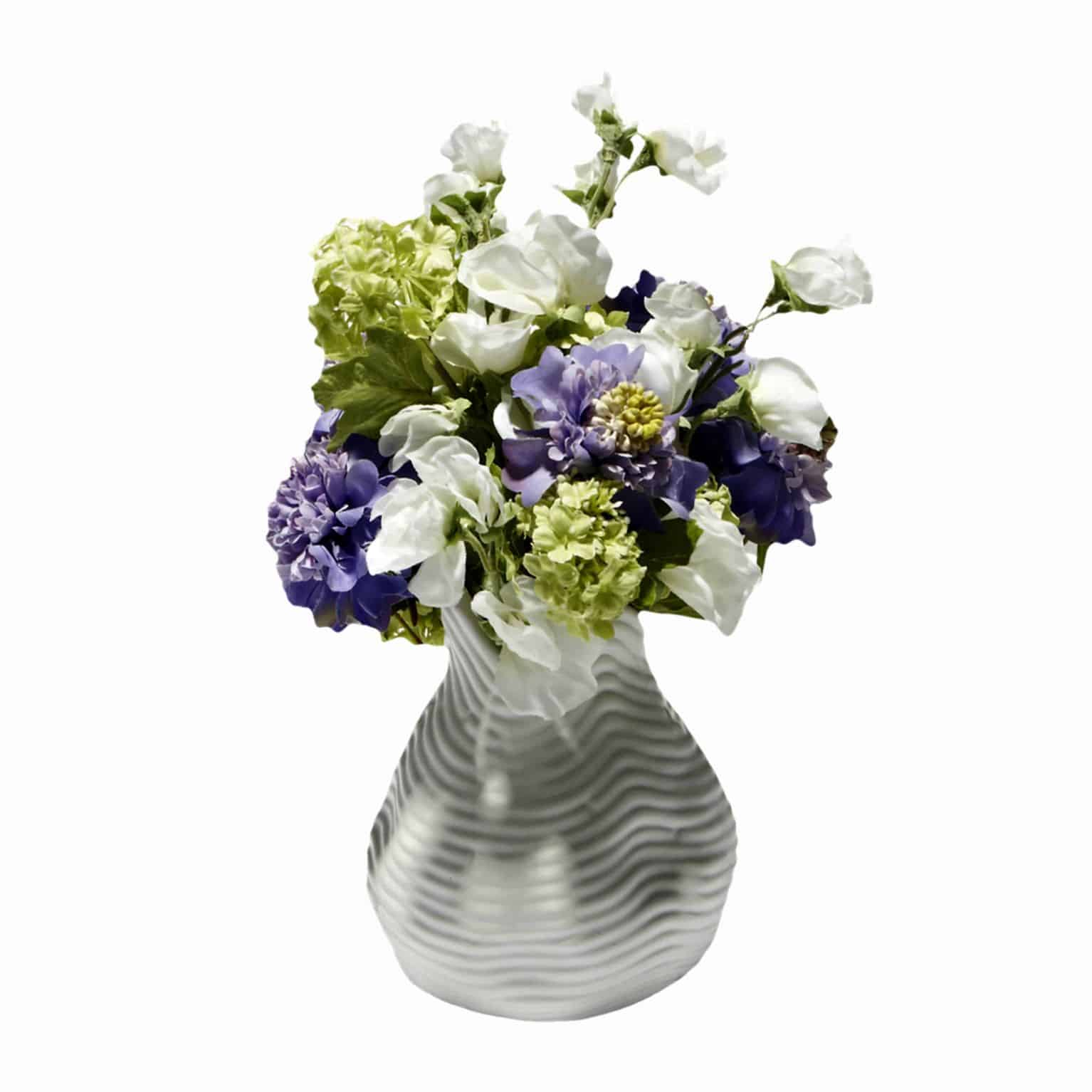 Shop for little piece of spring to brighten your day. A flower arrangement of fresh lime green guelder silk rose stems and artificial flower silk sweet peas.