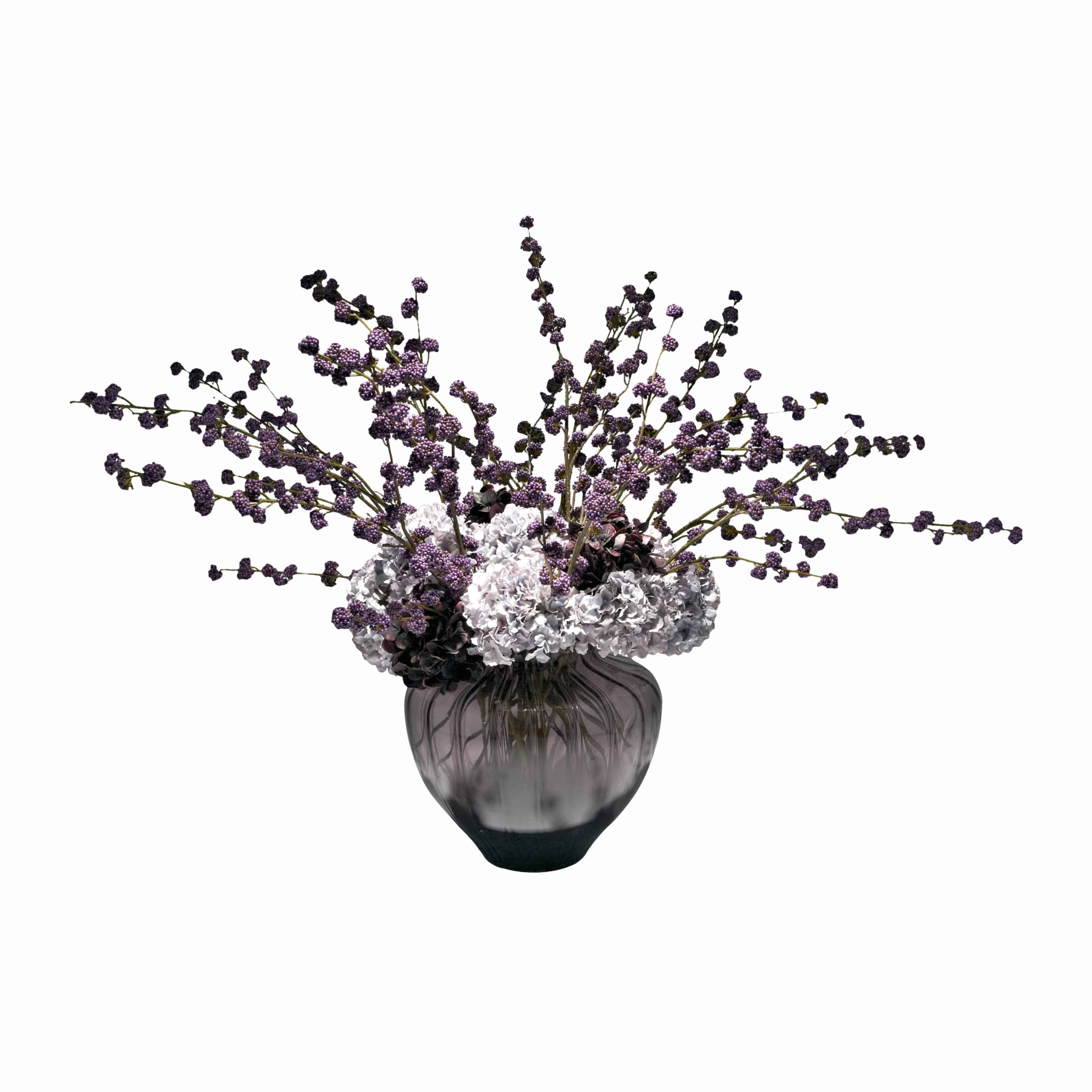 Buy a spacious silk flower arrangement of purple faux callicarpa berries and plush faux flower hydrangea in burgundy and blue.