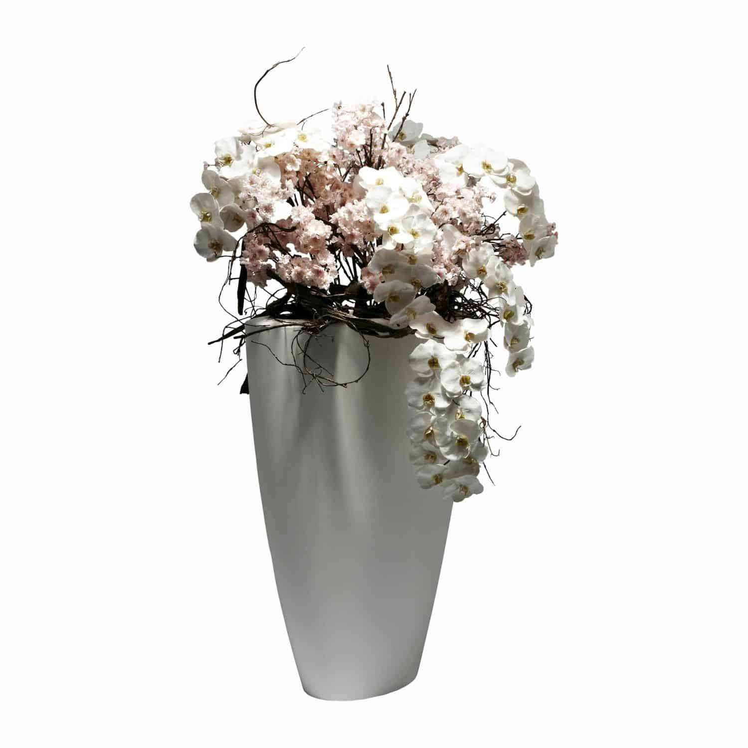 Buy our free standing floor arrangement of premium artificial flower blossom and fine silk pure white phalaenopsis orchid cascading in natural flow.