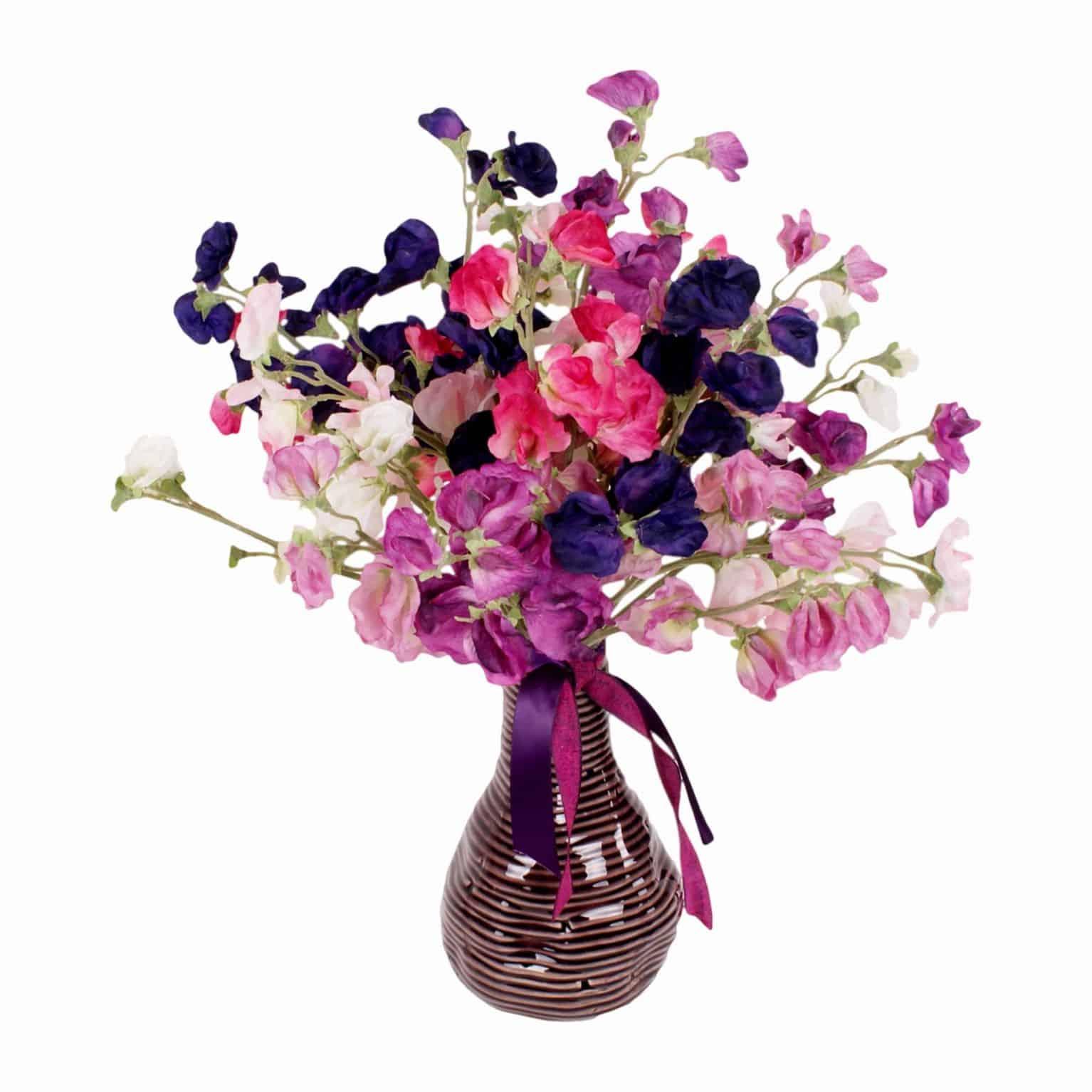 Pinks Purples Sweet Pea Faux Flower Arrangement Purple Bottle