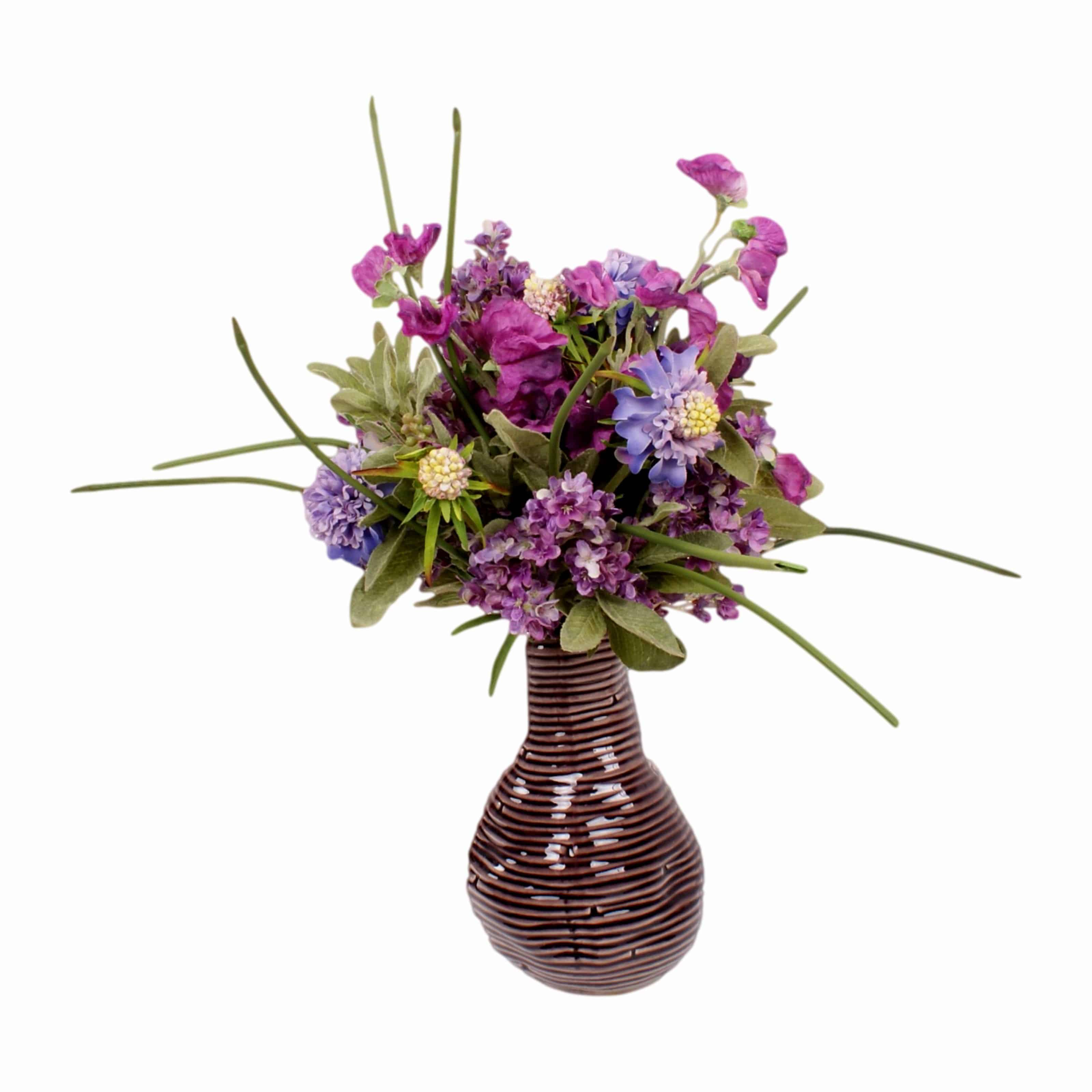 Lilac sweet pea scabiosa silk flower arrangement purple bottle this arrangement will brush away those summer blues shop for our silk flowering sweet pea mightylinksfo Gallery