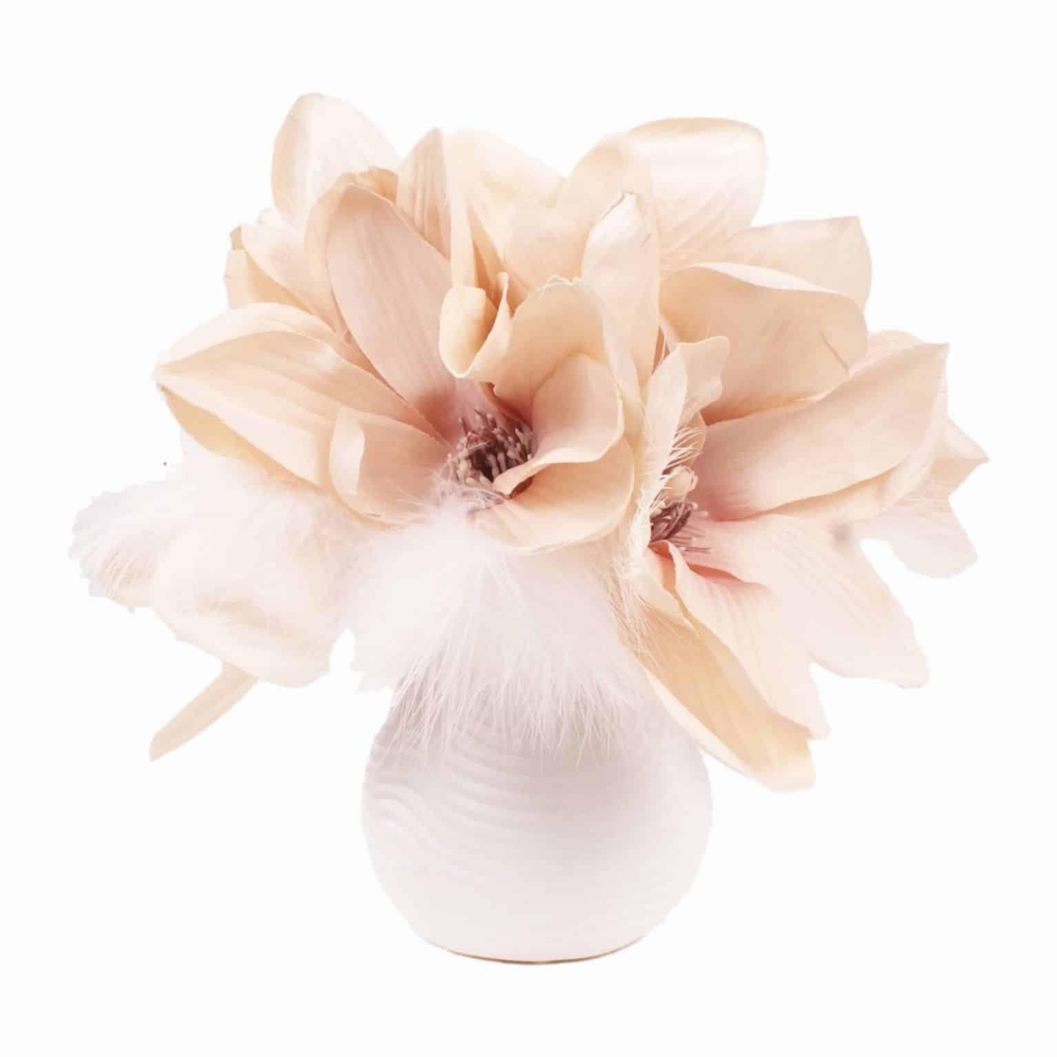 Shop for simplicity and splendour of silk flower Champagne magnolia heads with detailed lifelike pollen and a touch of artificial feathers.