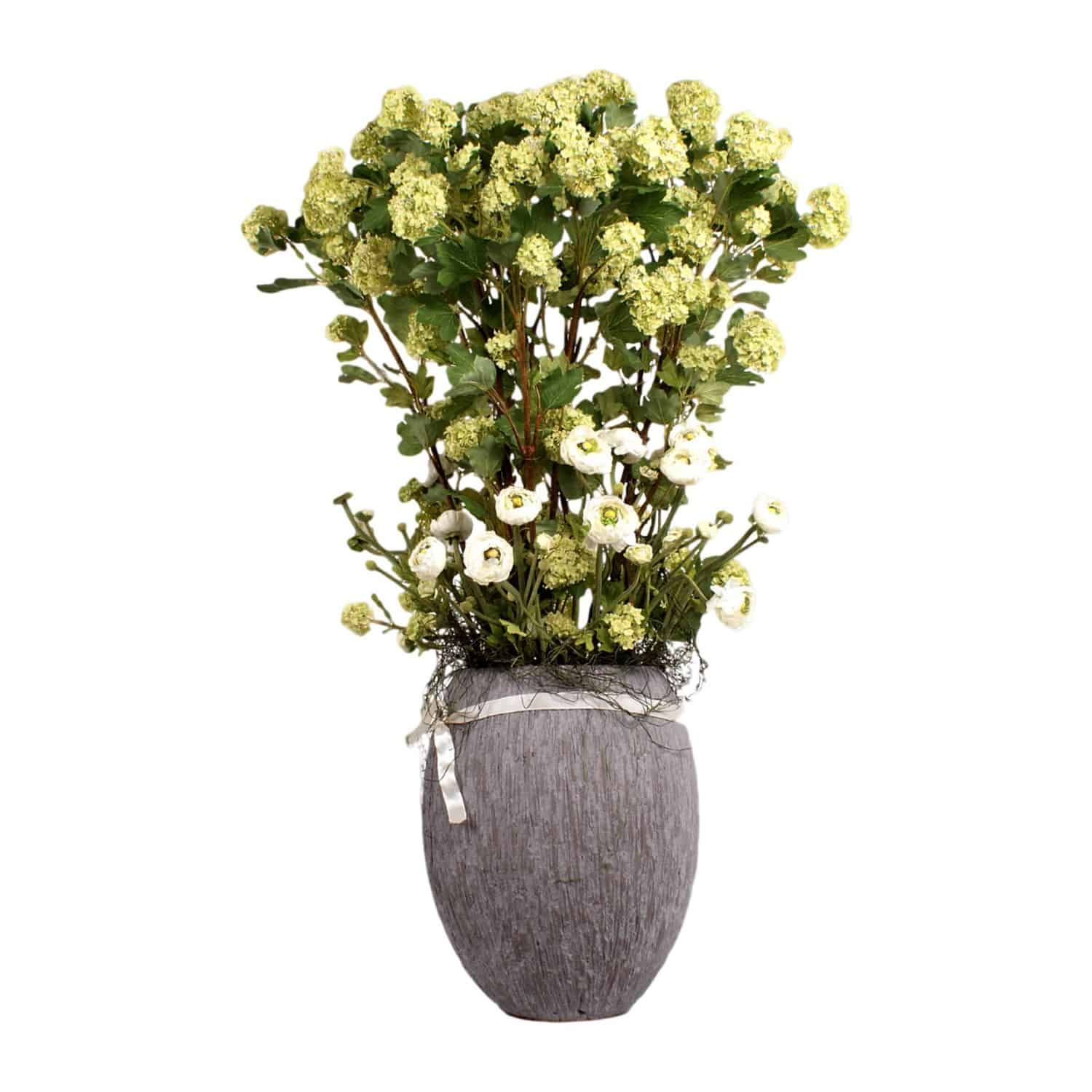 Buy our refreshing soft green flowering silk guelder rose arrangement with ranunculus silk flowers and natural looking pollen