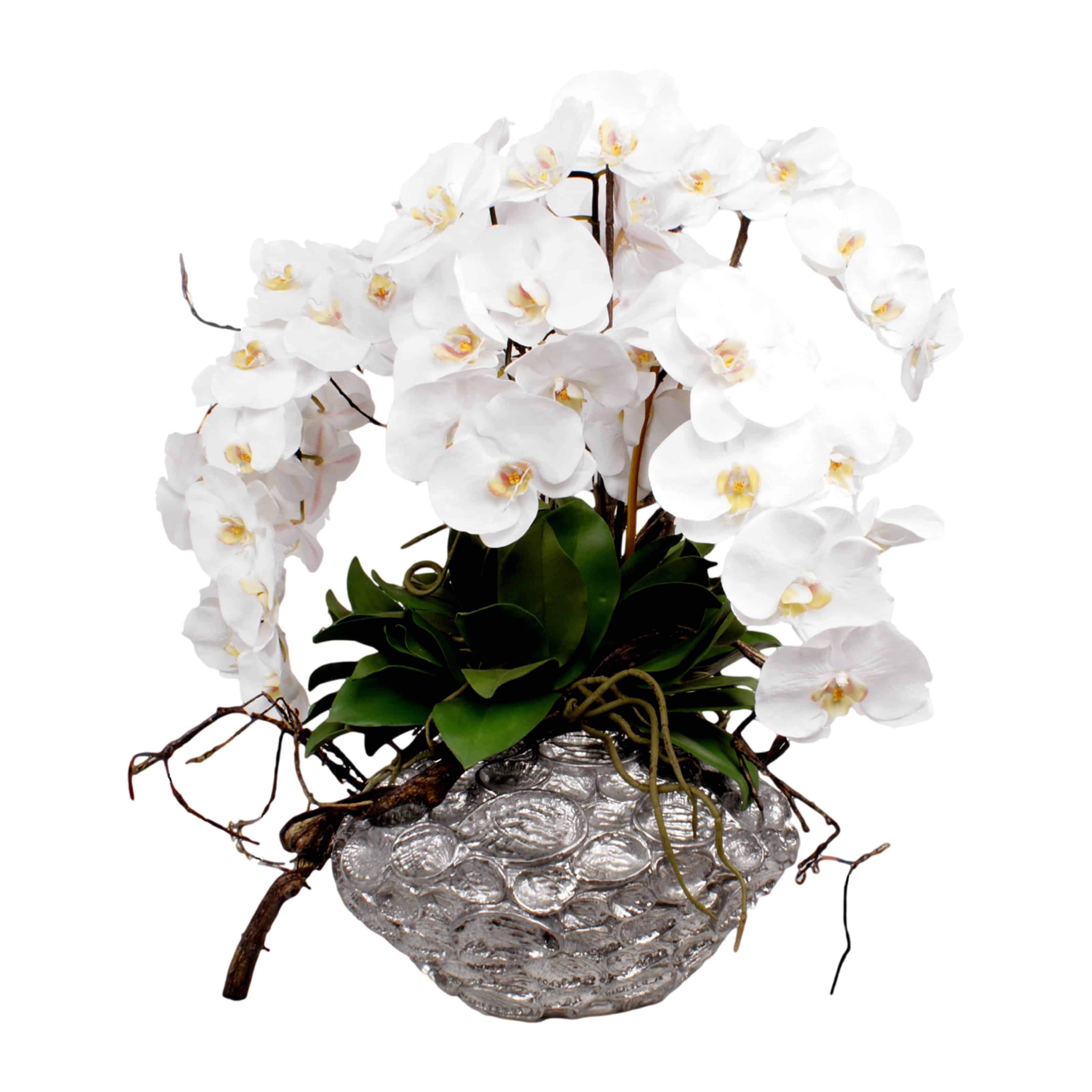 White Orchid Silk Flower Arrangement  Metallic Pot  Shop  Lifelike Flowers