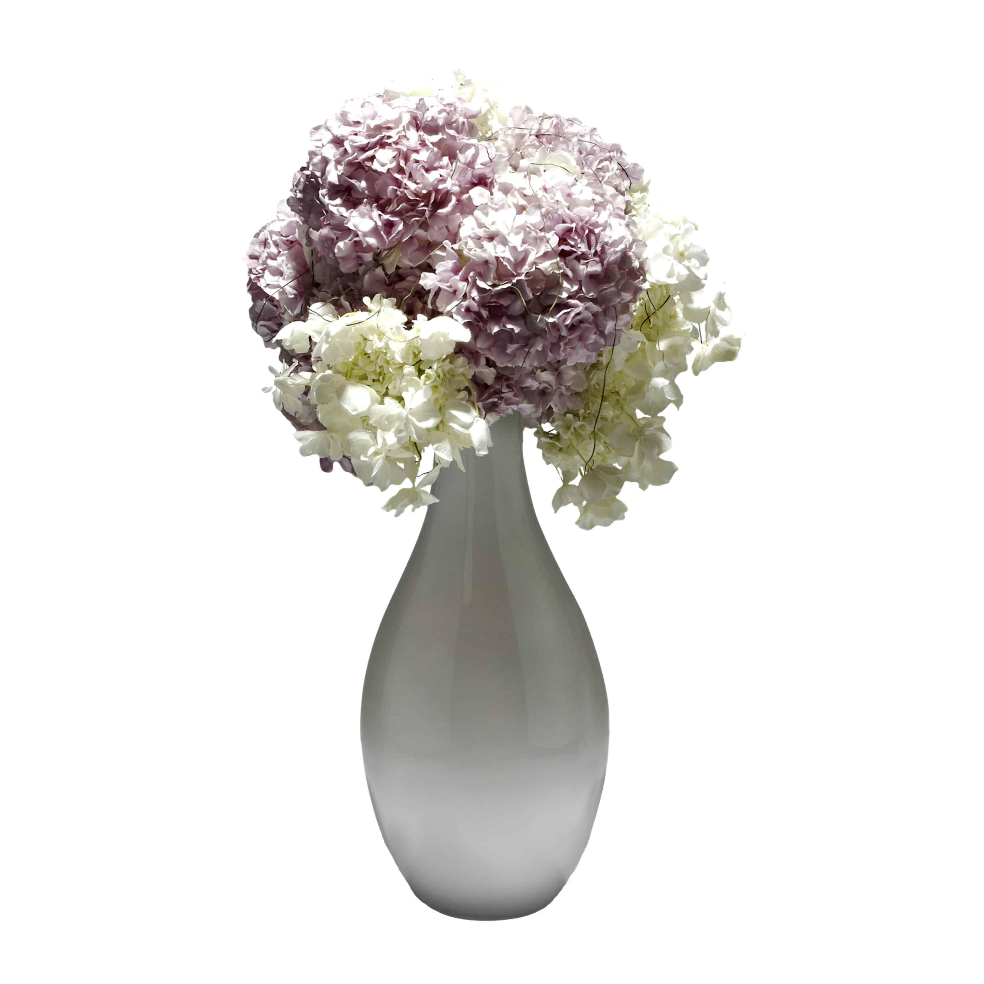 Pink & White Hydrangea Artificial Flower Arrangement White Bottle Vase