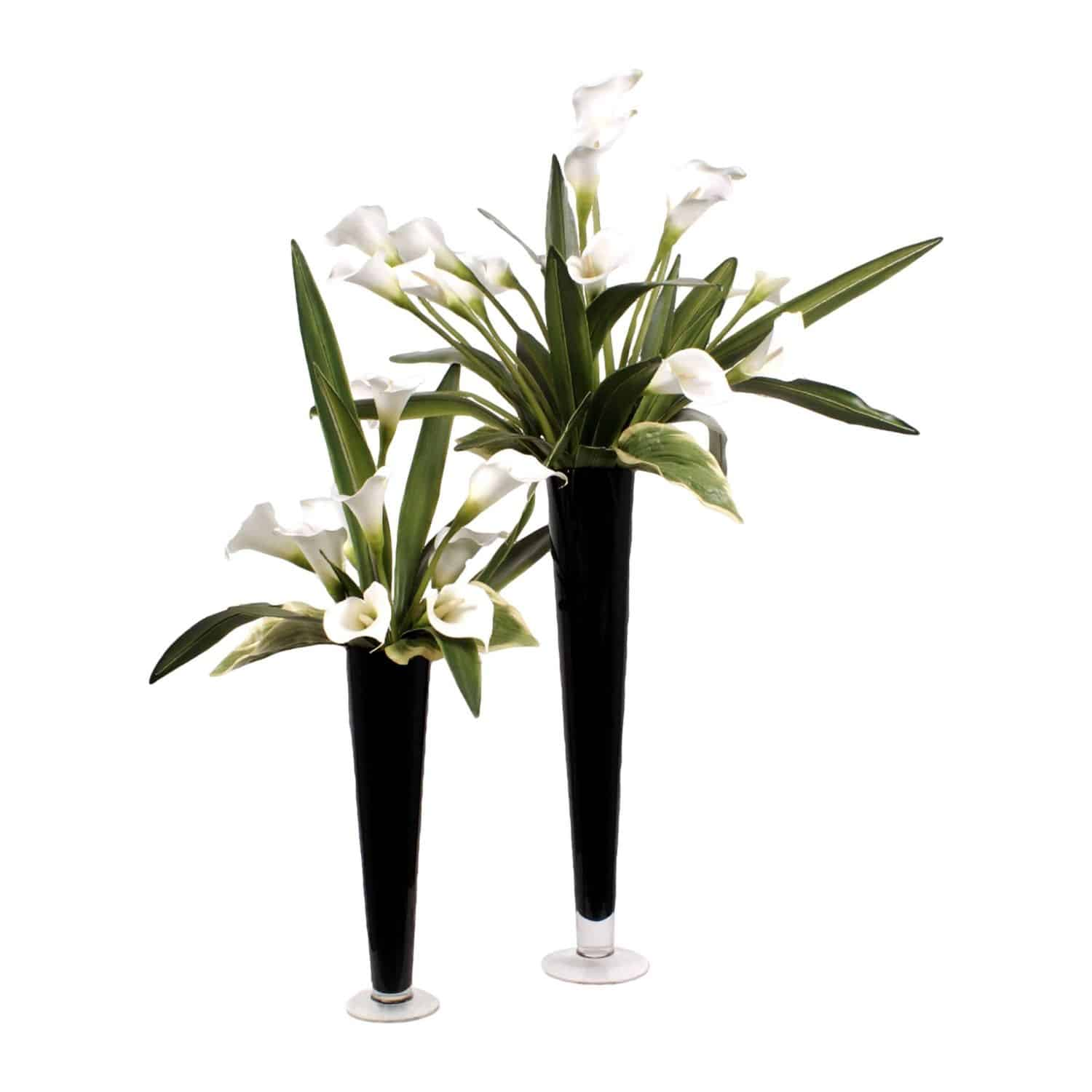 Buy our pair of flawless faux classic white lilies in tall black vases. Natural looking