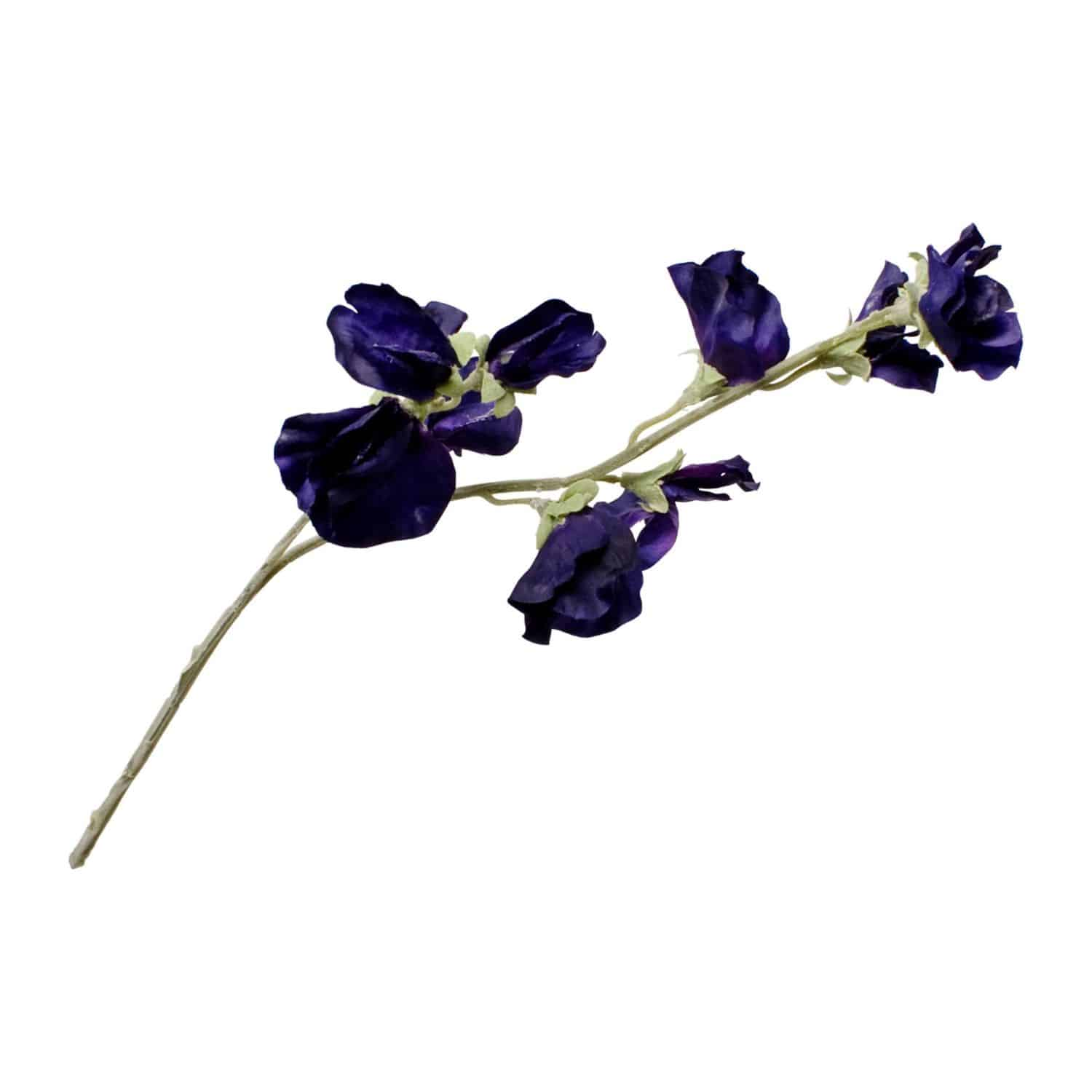 Buy dark purple faux sweet pea flowers in lifelike detail. A wonderful filler to any arrangement. The natural delicate petals add touches of colour.