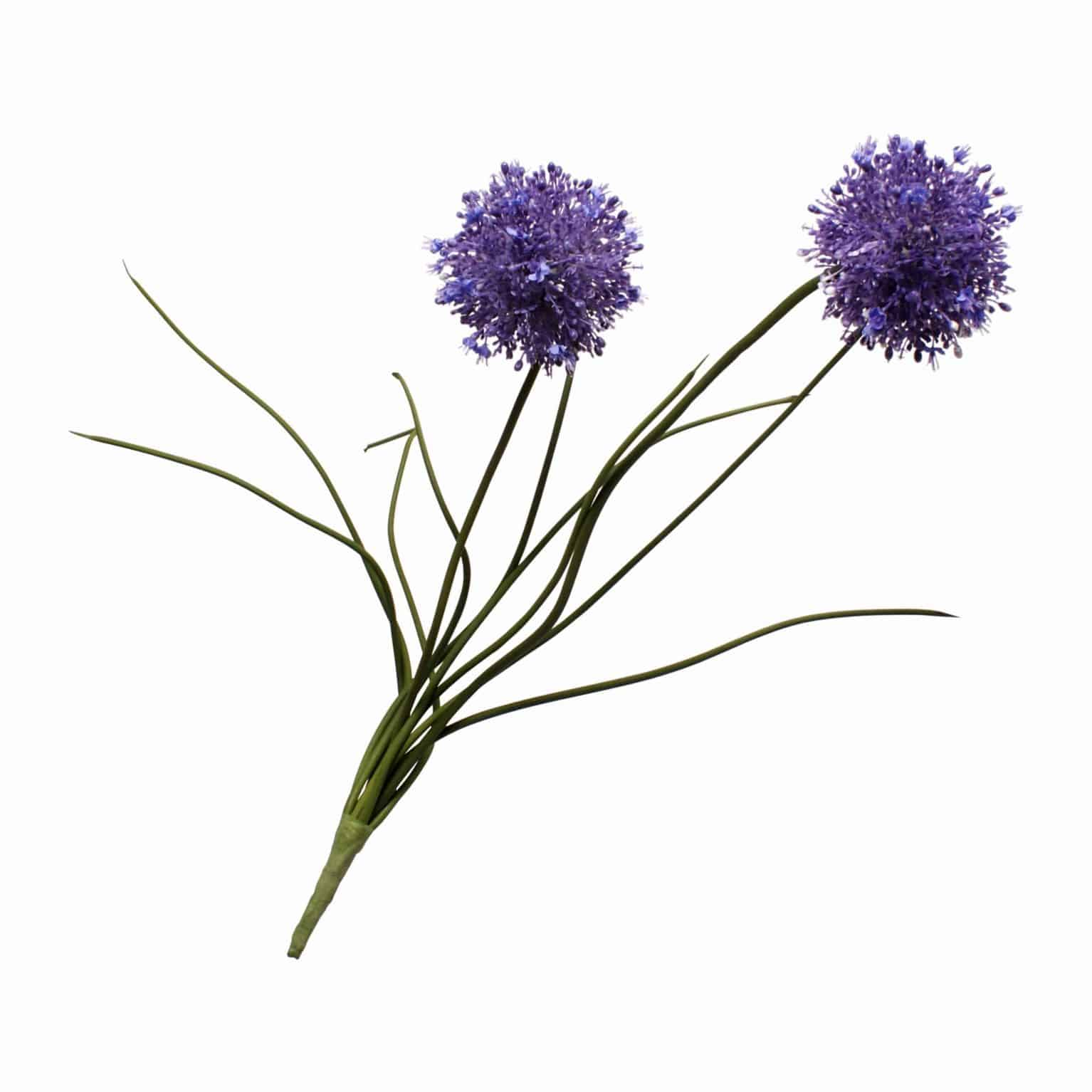 Buy our allium faux flower has detailed heads of tiny purple leaves shooting from the centre to create tones of light and dark purple. Can be used as foliage.