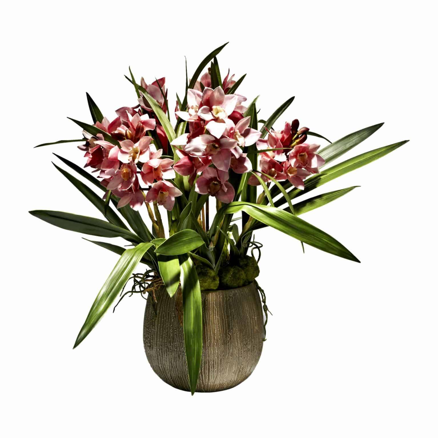 Buy our popular orchid plant with large lifelike silk flowering heads in soft rich pink tones. Includes artificial leaves and moss stone for natural detail.
