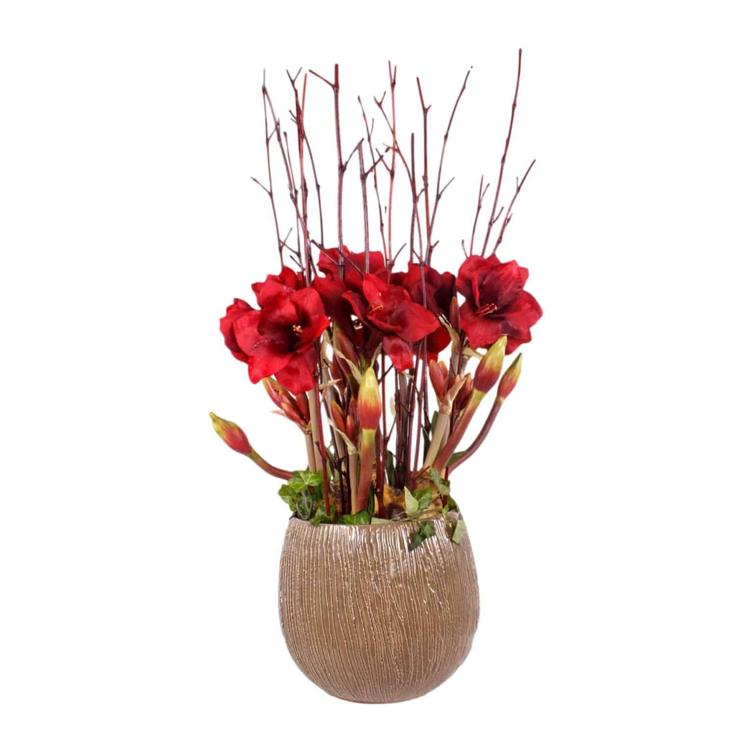 Buy our deep red artificial amaryllis bulb arrangement. Realistic in colour and texture with lifelike pollen